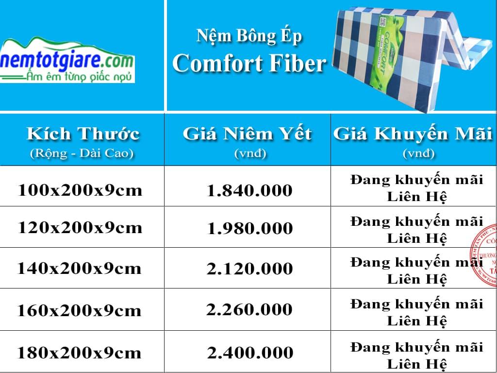 Bảng giá nệm bông ép Comfort Fiber và khuyến mãi