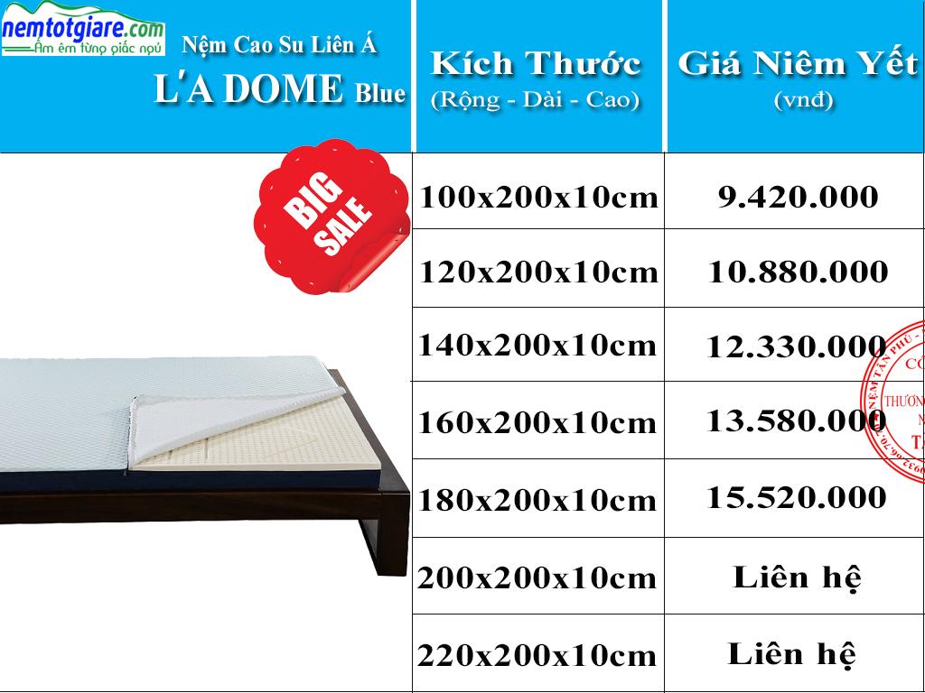 Bảng Giá Nệm cao su Ladome Blue mới nhất
