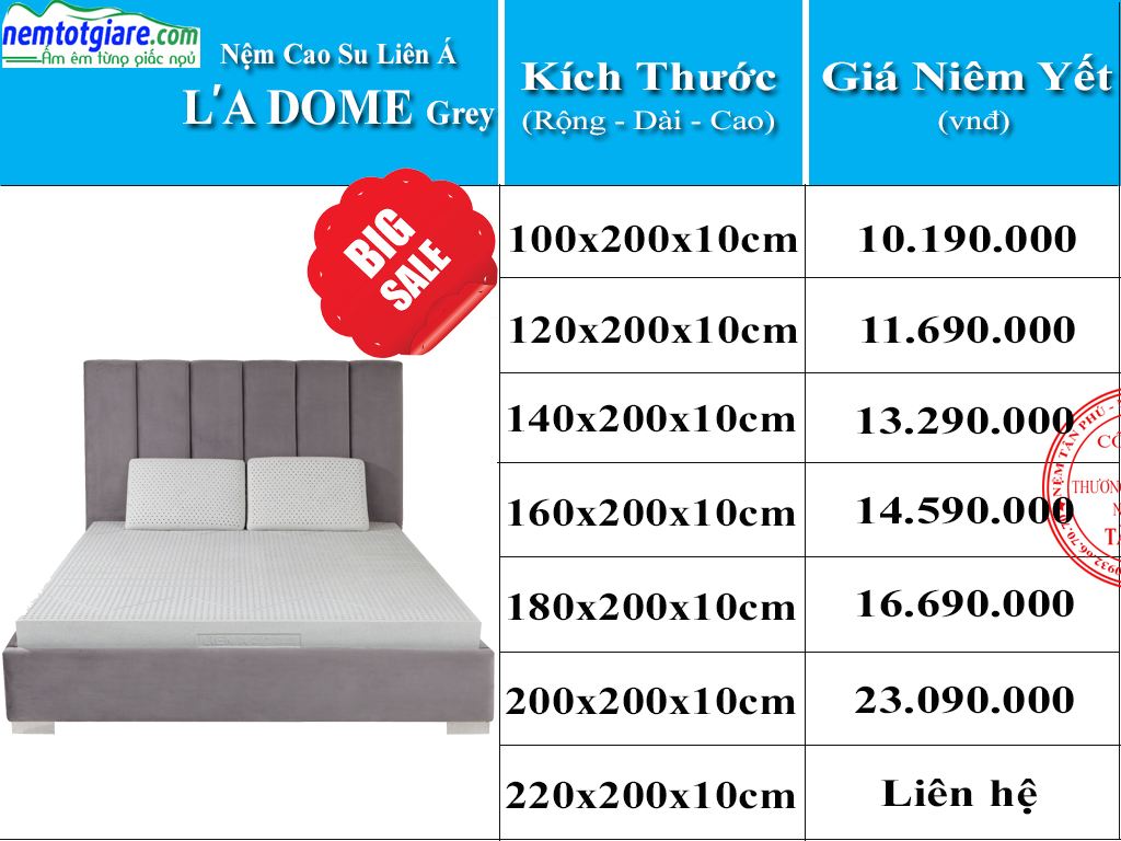 Bảng Giá Nệm Cao Su Ladome Grey Than Hoạt Tính Và Khuyến Mãi Năm 2020