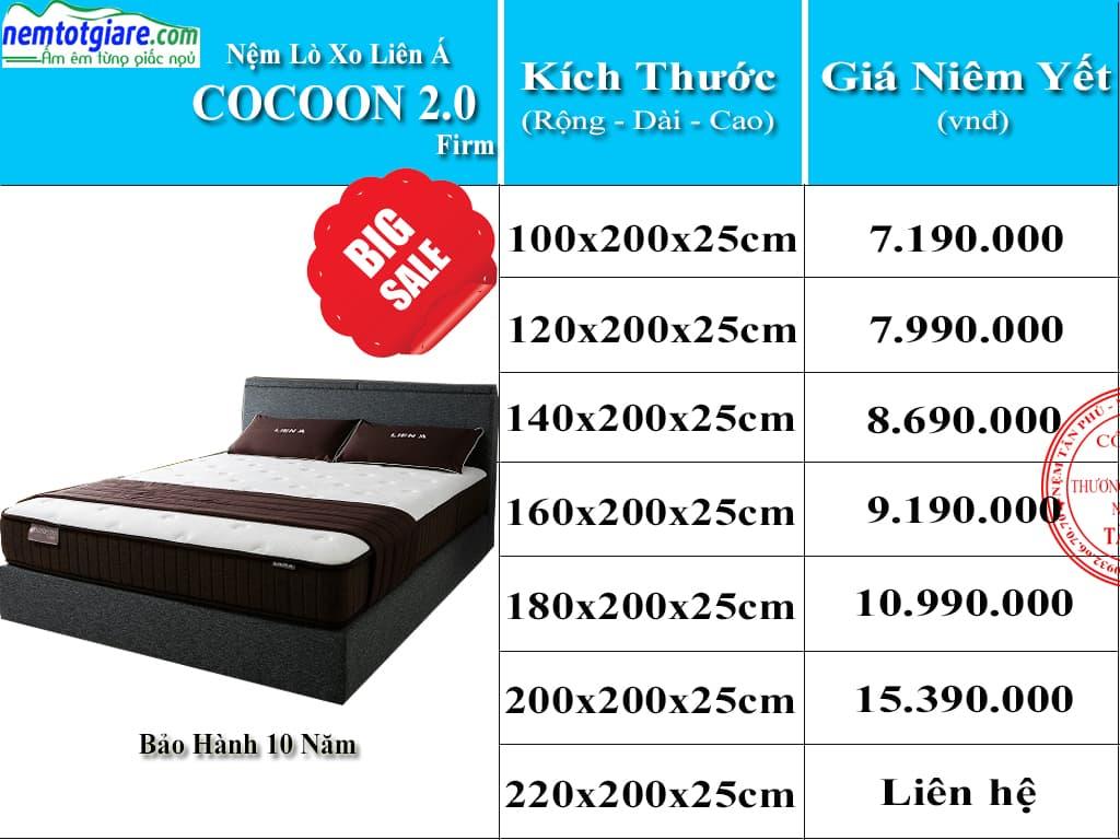 Bảng Giá Niêm Yết Nệm Lò Xo Túi Coccoon 2.0 Firm